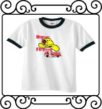 Big brother fire crew white with navy ringer t-shirt