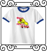 Big brother fire crew white with blue ringer t-shirt