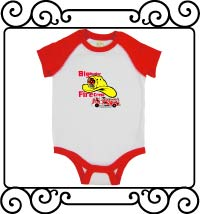 Big brother fire crew white with red raglan bodysuit