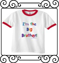 I'm the big brother white with red ringer t-shirt