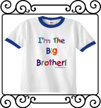 I'm the big brother white with blue ringer t-shirt