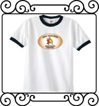 Big brother dinosaur hunter white with navy ringer shirt