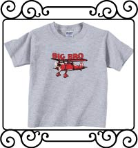 Big bro bi-plane ash gray sleeve shirt