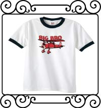 Big bro bi-plane white with navy ringer tee shirt