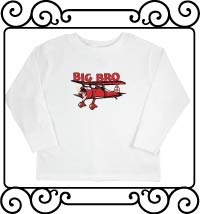 Big bro bi-plane white long sleeve shirt