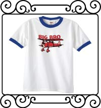 Big bro bi-plane white with blue ringer t shirt