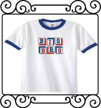 Personalized Big bro white with blue ringer t-shirt