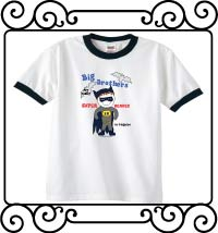 Batman - Big brothers are super heroes in disguise white with navy ringer tee shirt