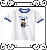 Batman - Big brothers are super heroes in disguise white with blue ringer t shirt