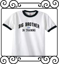 Big brother in training white with navy ringer t-shirt