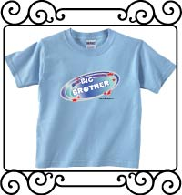Biggest brother blue galaxy with red stars light blue short sleeve t-shirt