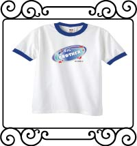 Biggest brother blue galaxy with red stars white with blue ringer t-shirt