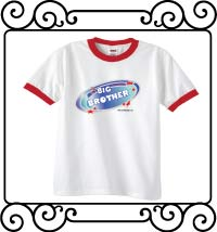 Biggest brother blue galaxy with red stars white with red ringer tee shirt
