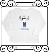 Personalized weight lifting themed biggest brother white long sleeve shirt