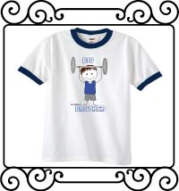 Personalized weight lifting themed biggest brother white with navy ringer tee shirt