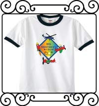 Big brothers are great with an aerospace theme white with navy ringer t-shirt