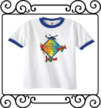 Big brothers are great with an aerospace theme white with blue ringer shirt