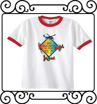 Big brothers are great with an aerospace theme white with red ringer tshirt
