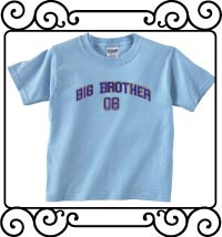 Big bro design with name and date light blue short sleeve shirt
