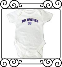 Big bro design with name and date white bodysuit
