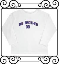 Big bro design with name and date white long sleeve tshirt