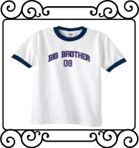 Big bro design with name and date white with navy ringer t-shirt