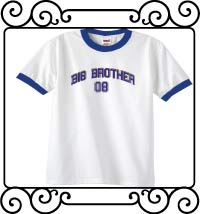 Big bro design with name and date white with blue ringer tshirt