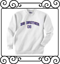Big bro design with name and date white sweatshirt