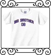 Big bro design with name and date white short sleeve tee shirt