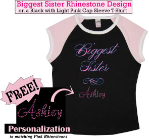 Biggest Sister Rhinestone T-Shirts