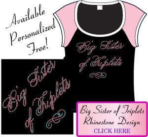 Big Sister of Triplets Rhinestone Design