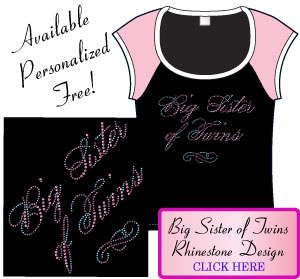 Big Sister of Twins Rhinestone Design