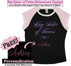 Big Sister of Twins Rhinestone T-Shirts