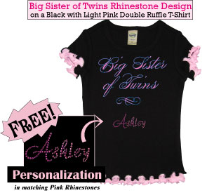 Big Sister of Twins Rhinestone Tee Shirt