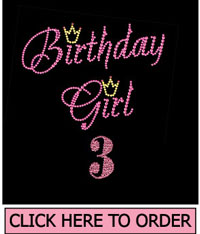 Birthday Girl 3 Rhinestone T-Shirt