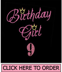 Birthday Girl 9 Rhinestone T-shirt