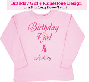 Birthday Girl (4) Rhinestone T-Shirts