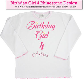 Birthday Girl (4) Rhinestone T-Shirt
