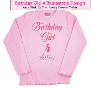 Birthday Girl (4) Rhinestone Tee Shirt