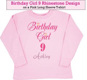 Birthday Girl (9) Rhinestone T-Shirts