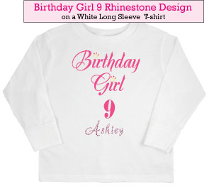 Birthday Girl (9) Rhinestone T-Shirt