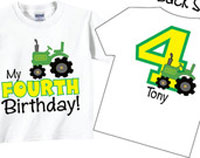 4th Birthday Shirts with Tractor for Boys