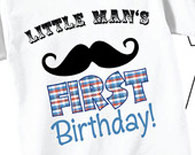 Little Man's 1st Birthday Shirts with Mustache in Red and Blue
